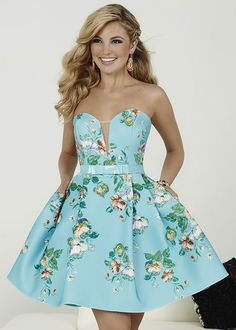 Hannah S 27013 Aqua Strapless Floral Pleated Party Dress