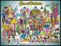 Hanna Barbera cartoons are still artsy to me even as an adult. Can you find your favorites in the picture?  I love Quicksdraw and Bobalouie, Augie Doggie and dear Old Dad, Snagglepuss, Yogi Bear and Boo to name a few.