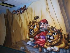 Worlds of Wow - with God's help through an Angel, God saved Daniel in the lion's den! This is one of the murals we did at First Baptist Church of Humble, TX.
