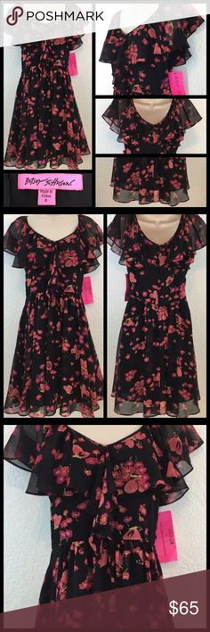 💐SALE💐 Cute butterfly Betsey Johnson dress, 6 Adorable Black flower/butterfly Betsey Johnson dress, with ruffled shoulders and neckline. Size 6. New with tags. Betsey Johnson Dresses Mini