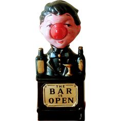 Vintage 1960's The Bar is Open Lighted Bartender Lamp Sign at WhimsicalVintage Exclusively on Ruby Lane
