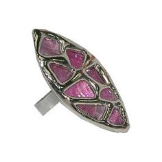 Trickles of flower petal can brighten up a monochromatic canvas. This leaf shaped ring with pink chips scattered sporadically adds a feminine touch to an otherwise goth get up. The top is made from tigerlip oyster shell dyed pink set on adjustable metal band.