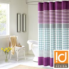 ID Lacey Modern Purple Shower Curtain | Overstock.com Shopping - Great Deals on ID-Intelligent Designs Shower Curtains