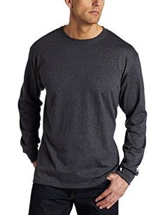 Russell Athletic Men's Basic Cotton Long Sleeve Tee, Black Heather, X-Large - http://www.exercisejoy.com/russell-athletic-mens-basic-cotton-long-sleeve-tee-black-heather-x-large/athletic-clothing/