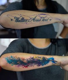There is an amazing idea we have collected for your cover up tattoo design. Check the latest Cover Up Tattoos Design Now. Feather Tattoo Cover Up, Arm Cover Up Tattoos, Cover Up Tattoos For Women, Wrist Tattoos For Women, Feather Tattoos, Tattoos For Women Small, Hand Tattoo Cover Up, Finger Tattoos, Body Art Tattoos