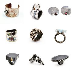 A grouping of Sterling silver, Bronze and Gold rings, cuffs and earrings