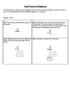 This gives a step-by-step to using the Partial Products method for Multiplication. Great for parents and teachers! (CCSS - 4.NBT.5)