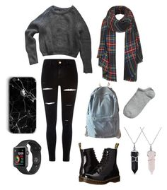 """School outfit 3"" by salnrdzk ❤ liked on Polyvore featuring American Apparel, Dr. Martens, River Island, Topshop, WithChic and Bling Jewelry"