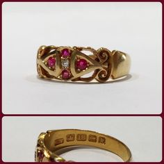 A wonderful 18ct Ruby and diamond ring that's hallmarked for Birmingham, England, 1909-10. $995. Call to purchase. #Victorian #ruby #julybirthday #antiquediamonds #gold #goldring #birmingham #beauty #gilt #giltjewelry