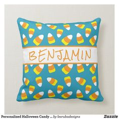 Personalized Halloween Candy Corn Throw Pillow Halloween Pillows, Candy Corn, Spooky Halloween, Custom Pillows, Party Hats, Keep It Cleaner, Holiday Cards, Your Design, Art Pieces