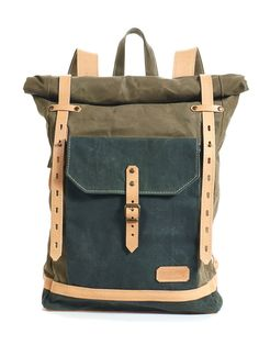 Olive green waxed canvas backpack. Canvas and Leather by InnesBags
