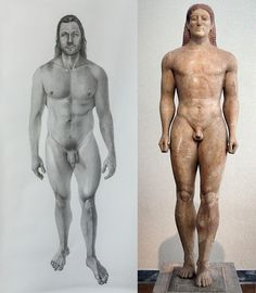 Adam (The first man who has influence from ancient Kouros) Pencil on paper 300X150 cm. 2016   The Kouros is the image of a naked youth. He is represented standing frontally, with one leg usually the left one , advanced. The arms , straight or slightly bent , are lowered at his side, with the hands clenched in a first, resting by his things. With his heroic nudity, he epitomizes perpetual youthfulness, eternal beauty, the power, hope and bliss of life.*  * National Archaeological Museum