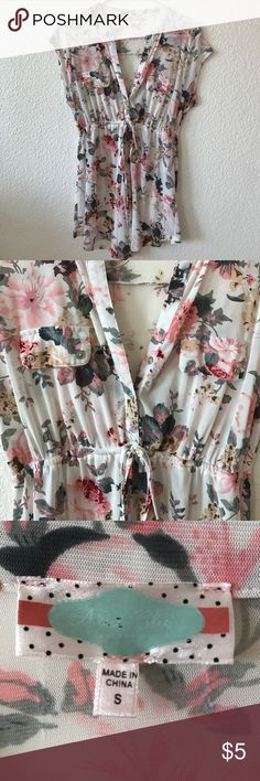 Maternity Floral Blouse Pink & gray Floral design • has a tie in front right under the bust • Lightly worn •  No stains or tears • Thin & airy • Chiffon blouse Tops Blouses