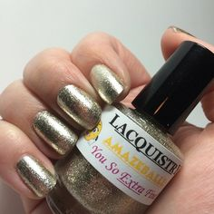 Lacquistry = they make an easy to remove, extra fine, magically smooth gold glitter polish