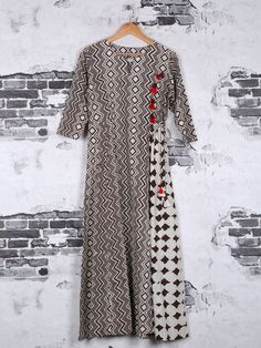 Shop Brown cotton printed kurti online from G3fashion India. Brand - G3, Product code - G3-WKU0627, Price - 2715, Color - Brown, Fabric - Cotton,