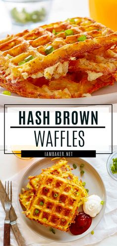 Try some extraordinary waffles with these Hash Brown Waffles! This recipe is a nice and hot breakfast that will keep Potato Waffles, Savory Waffles, Cornbread Waffles, Cheese Waffles, Breakfast Puff Pastry, Savory Breakfast, Breakfast Dishes, Breakfast Recipes, Gourmet