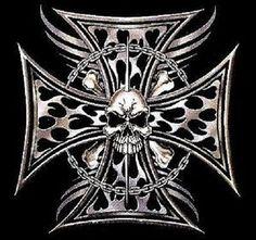 Grey skull ironcross color decal skull and crossbones decals tribal tattoo iron cross skull biker long sleeve publicscrutiny Gallery