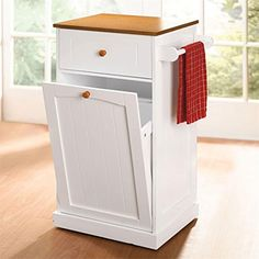 Microwave Kitchen Cart With Hideaway Trash Can Holder Overstock - Hide away trash bin kitchen