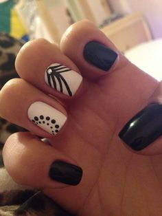 180 Best Black White Nails Images On Pinterest Beauty Hairdos