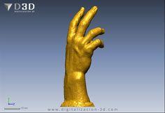 Vista de perfil de la mano escaneada