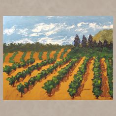 Large Original Abstract Painting Contemporary Landscape Expressionist Vineyard Art NAPA VINEYARD 24x30 Free US Shipping