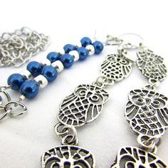 Owl Lanyard Blue Pearl Owl Eyeglass Necklace by EarthlieTreasures, $23.95
