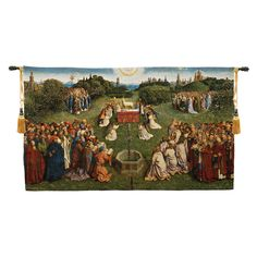 """Adoration of the Mystic Lamb Belgian Tapestry Wall Hanging, H32"""" x W57"""""""