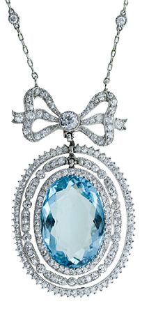 Learn more about Aquamarine at Antique Jewelry University!  Edwardian aquamarine pendant necklace