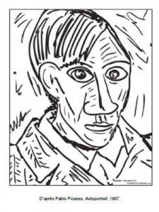 Art projects for elementary school inspired by Pablo Picasso. Check out these fabulous 10 Pablo Picasso Projects for Kids. Quick and easy art lessons . Pablo Picasso, Kunst Picasso, Art Picasso, Picasso Self Portrait, Art Espagnole, Easy Art Lessons, Art Worksheets, Free Coloring Pages, Printable Coloring