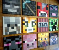 """Minecraft inspired wall painting,12""""x12"""" Canvas,  boys room, original acrylic painting, hand painted"""