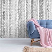 Classic Scandinavian motifs and colours create a restrained and subtle mood. Striped Wallpaper, Kids Wallpaper, Shabby Chic Wallpaper, Elle Decor, Designer Wallpaper, Scandinavian Design, Minimalist Design, Wall Murals, Design Elements