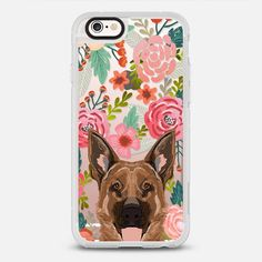 German Shepherd florals cute flower cell phone case with German Shepherd transparent iphone6 case - New Standard Case