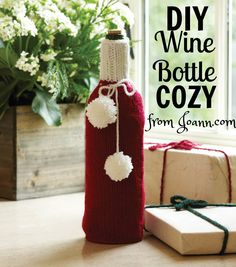"FREE PATTERN! Make your own DIY Wine Bottle Cozy with this free pattern from Joann.com! It's perfect for ""wrapping"" holiday hostess gifts!"