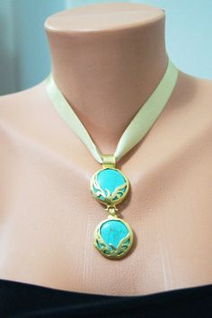 Turquoise Stone  Necklace with Gold Ribbon  by SpecialFabrics