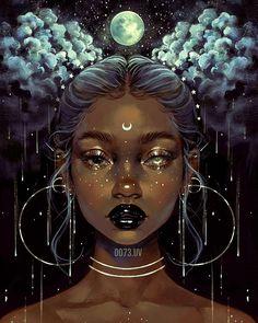 """""""Space Buns"""". Art via @0073.uv Art Black Love, Black Girl Art, Art Magique, Black Girl Cartoon, Black Art Pictures, Goddess Art, Black Goddess, Moon Goddess, Digital Art Girl"""