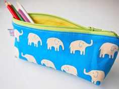 Zippered Pencil Case / Pouch  Blue Elephants by piggledee on Etsy, $20.00