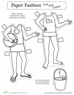 Worksheets: Paper Doll Coloring Outfit #1