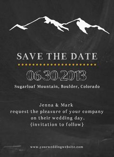 DIY Printable Chalkboard Save the Date Mountain by themunch