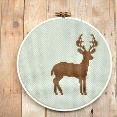 Deer silhouette cross stitch