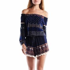 """""""Tomorrow Is"""" Off Shoulder Printed Romper Off shoulder navy printed romper. Elastic waist with a good amount of stretch. Brand new. True to size. Model is wearing the size small. NO TRADES. Bare Anthology Pants Jumpsuits & Rompers"""