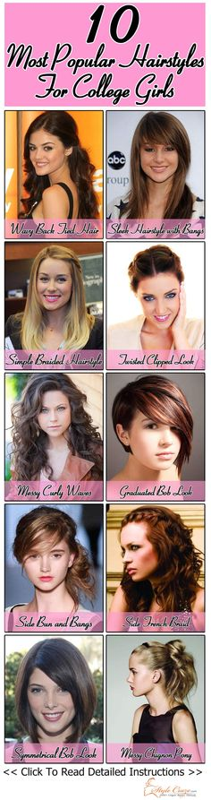 10 Most Popular Hairstyles For College Girls… Some can be used for natural curls!!