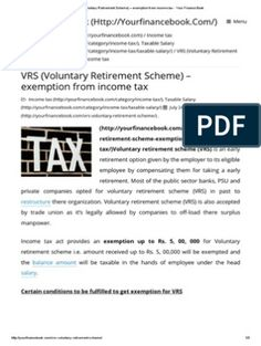VRS (Voluntary Retirement Scheme) – Exemption From Income Tax - Your Finance Book Biodata Format Download, Finance Books, Early Retirement, Income Tax, Pdf, Finance