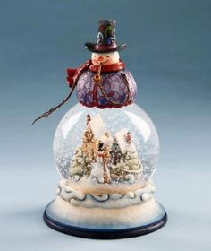 "Jim Shore Figurine - ""Snowman Water Globe Figurine"""