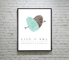 Personalized Thumbprint Wedding Poster - Wedding Guest Book - Lesbian Wedding Gift on Etsy, $45.00