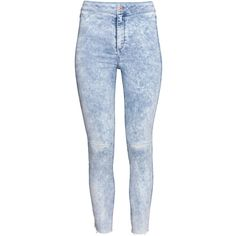 H&M Skinny High Ankle Jeans ($30) ❤ liked on Polyvore featuring jeans, light denim blue, skinny fit jeans, short pants, high rise jeans, blue high waisted jeans and high-waisted jeans