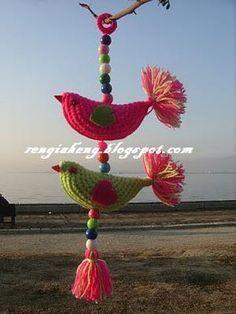 Rengiaheng: Aves en un árbol Abundancia Dolusu :) Crochet Birds, Crochet Art, Crochet Home, Crochet Crafts, Crochet Projects, Crochet Dreamcatcher, Crochet Keychain, Crochet Decoration, Creative Embroidery