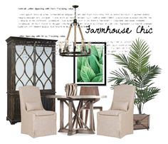 """Farmhouse chic"" by laveldar on Polyvore featuring interior, interiors, interior design, home, home decor, interior decorating, Nearly Natural, Aidan Gray, Matthew Hilton and Hooker Furniture"