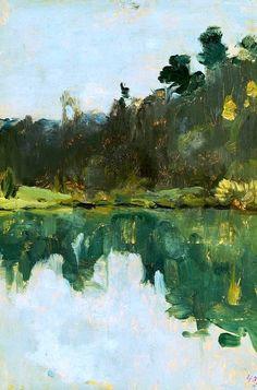 ☼ Painterly Landscape Escape ☼  landscape painting by Isaac Levitan - Lakeshore