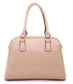 APRICOT - Classic Cora Plain Patent Tote Handbag With Straight Lining Detail - The Handbag Hut