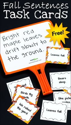 Banish run-on sentences and fragments forever! Use these free Fall Sentences to Expand task cards to teach kids how to improve their sentences by adding more detail.